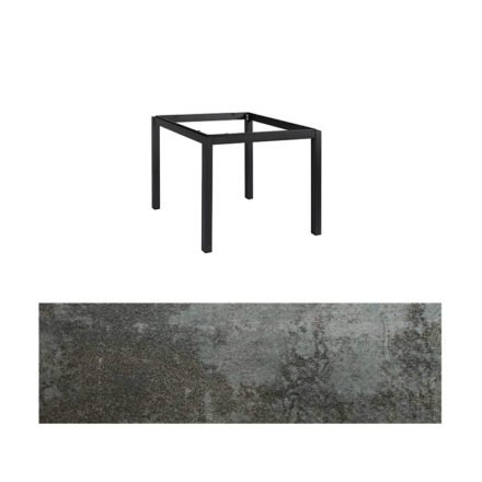 "Jati&Kebon Gartentisch ""Lugo"", Gestell Aluminium eisengrau, Tischplatte Keramik Oxido Dark Night, 90x90 cm"
