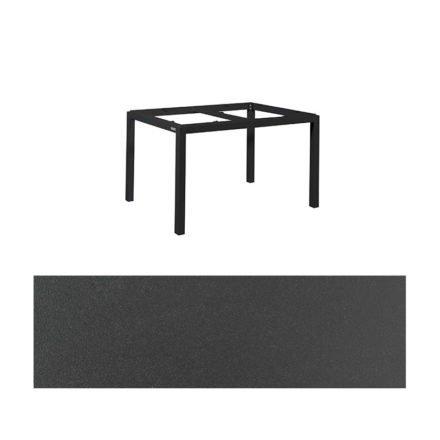 """Jati&Kebon Gartentisch """"Lugo"""", Gestell Aluminium eisengrau, Tischplatte Keramik Zement dunkel, 130x80 cm"""