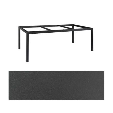 """Jati&Kebon Gartentisch """"Lugo"""", Gestell Aluminium eisengrau, Tischplatte Keramik Zement dunkel, 220x100 cm"""