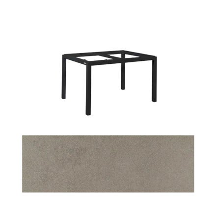 "Jati&Kebon Gartentisch ""Lugo"", Gestell Aluminium eisengrau, Tischplatte Keramik Zement hell, 130x80 cm"