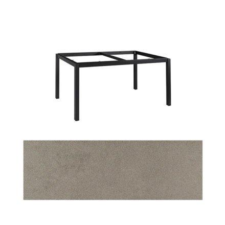 "Jati&Kebon Gartentisch ""Lugo"", Gestell Aluminium eisengrau, Tischplatte Keramik Zement hell, 160x90 cm"
