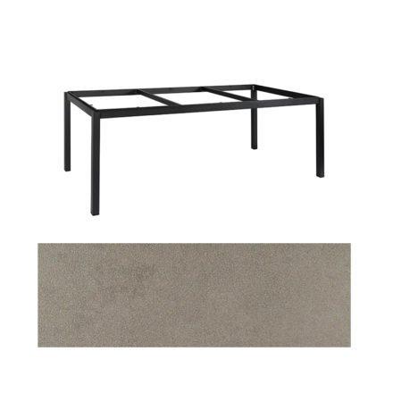 "Jati&Kebon Gartentisch ""Lugo"", Gestell Aluminium eisengrau, Tischplatte Keramik Zement hell, 220x100 cm"