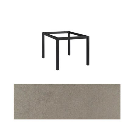 "Jati&Kebon Gartentisch ""Lugo"", Gestell Aluminium eisengrau, Tischplatte Keramik Zement hell, 90x90 cm"