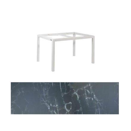 """Jati&Kebon Gartentisch """"Lugo"""", Gestell Aluminium weiß, Tischplatte Keramik Dark Marble, 130x80 cm"""
