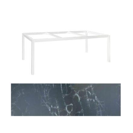 """Jati&Kebon Gartentisch """"Lugo"""", Gestell Aluminium weiß, Tischplatte Keramik Dark Marble, 220x100 cm"""