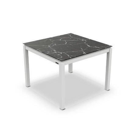 """Jati&Kebon Gartentisch """"Lugo"""", Gestell Aluminium weiß, Tischplatte Keramik Dark Marble, 90x90 cm"""