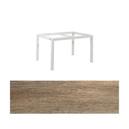 """Jati&Kebon Gartentisch """"Lugo"""", Gestell Aluminium weiß, Tischplatte Keramik Eiche dunkel, 130x80 cm"""