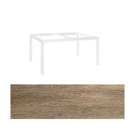"""Jati&Kebon Gartentisch """"Lugo"""", Gestell Aluminium weiß, Tischplatte Keramik Eiche dunkel, 160x90 cm"""