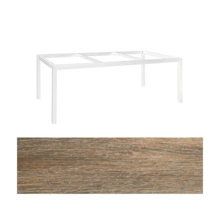 """Jati&Kebon Gartentisch """"Lugo"""", Gestell Aluminium weiß, Tischplatte Keramik Eiche dunkel, 220x100 cm"""