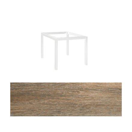 """Jati&Kebon Gartentisch """"Lugo"""", Gestell Aluminium weiß, Tischplatte Keramik Eiche dunkel, 90x90 cm"""