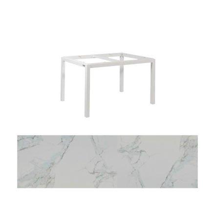 "Jati&Kebon Gartentisch ""Lugo"", Gestell Aluminium weiß, Tischplatte Keramik Graduario, 130x80 cm"
