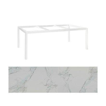 "Jati&Kebon Gartentisch ""Lugo"", Gestell Aluminium weiß, Tischplatte Keramik Graduario, 220x100 cm"