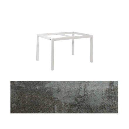 """Jati&Kebon Gartentisch """"Lugo"""", Gestell Aluminium weiß, Tischplatte Keramik Oxido Dark Night, 130x80 cm"""