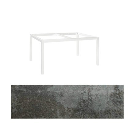 """Jati&Kebon Gartentisch """"Lugo"""", Gestell Aluminium weiß, Tischplatte Keramik Oxido Dark Night, 160x90 cm"""