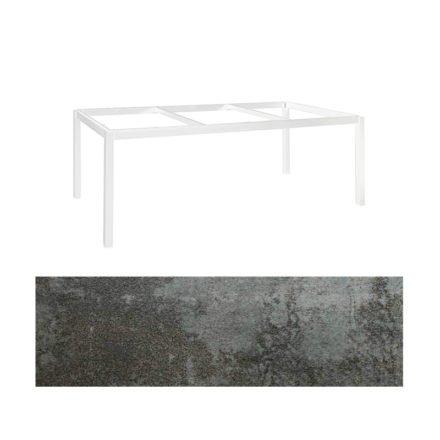 """Jati&Kebon Gartentisch """"Lugo"""", Gestell Aluminium weiß, Tischplatte Keramik Oxido Dark Night, 220x100 cm"""