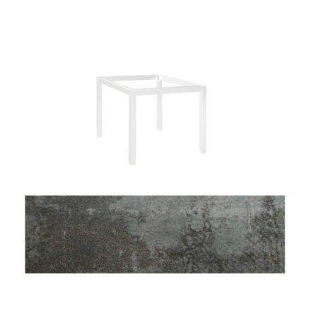 """Jati&Kebon Gartentisch """"Lugo"""", Gestell Aluminium weiß, Tischplatte Keramik Oxido Dark Night, 90x90 cm"""
