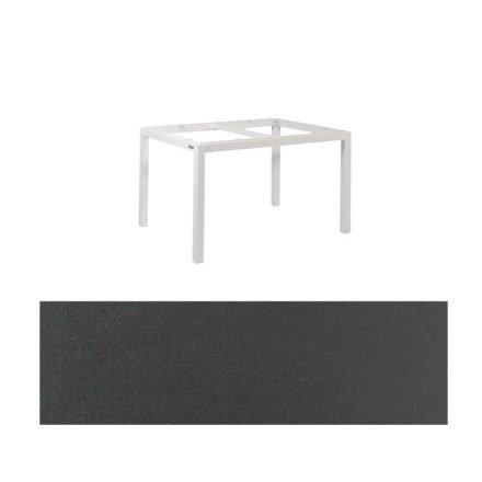 "Jati&Kebon Gartentisch ""Lugo"", Gestell Aluminium weiß, Tischplatte Keramik Zement dunkel, 130x80 cm"