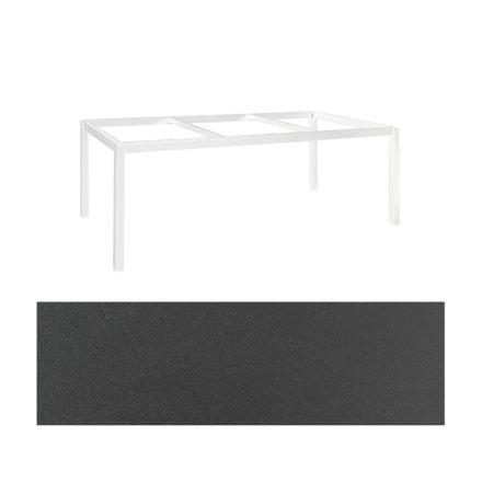 "Jati&Kebon Gartentisch ""Lugo"", Gestell Aluminium weiß, Tischplatte Keramik Zement dunkel, 220x100 cm"