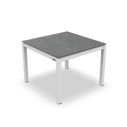 "Jati&Kebon Gartentisch ""Lugo"", Gestell Aluminium weiß, Tischplatte Keramik Zement dunkel, 90x90 cm"