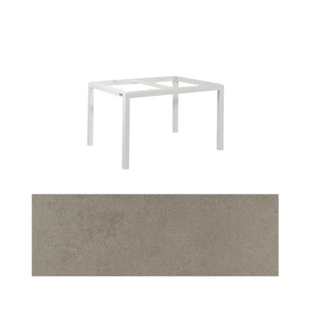 "Jati&Kebon Gartentisch ""Lugo"", Gestell Aluminium weiß, Tischplatte Keramik Zement hell, 130x80 cm"