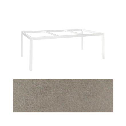 "Jati&Kebon Gartentisch ""Lugo"", Gestell Aluminium weiß, Tischplatte Keramik Zement hell, 220x100 cm"