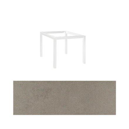 "Jati&Kebon Gartentisch ""Lugo"", Gestell Aluminium weiß, Tischplatte Keramik Zement hell, 90x90 cm"