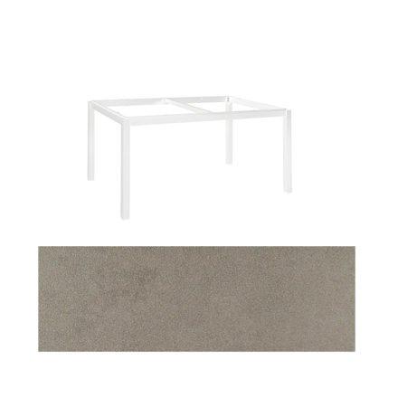 "Jati&Kebon Gartentisch ""Lugo"", Gestell Aluminium weiß, Tischplatte Keramik Zement hell, 160x90 cm"