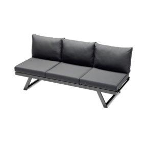 """Sieger Lounge/Liege """"Auckland"""", Gestell Aluminium eisengrau, Kissenfarbe grau"""