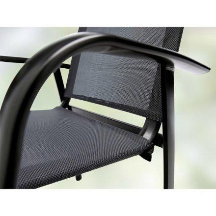 "Sieger Stapelsessel ""Padua"", Gestell Aluminium eisengrau, Sitz- und Rückenfläche Textil silbergrau"