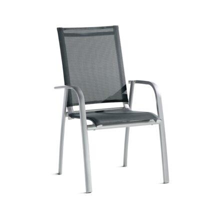 """Sieger Stapelsessel """"Padua"""", Gestell Aluminium graphit, Sitz- und Rückenfläche Textil grau"""