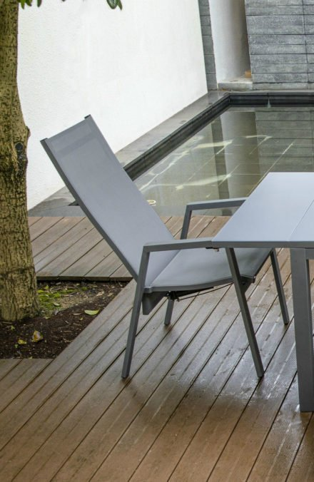 Siena Garden Sessel Calun, mit verstellbarer Rückenlehne, Gestell Aluminium matt graphit, Sitzfläche Textilgewebe jeans-grau