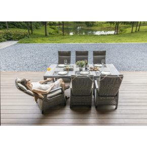 """Siena Garden Gartenmöbel-Set mit Dining-Sessel """"Corido"""" und Gartentisch """"Silva"""" 220x100 cm, Aluminium matt-anthrazit"""