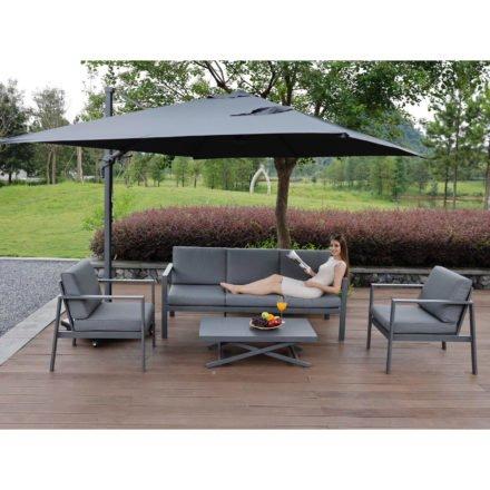 """Siena Garden Loungeset """"Sarah"""", Gestell Aluminium matt graphit, Polster jeans-grau"""