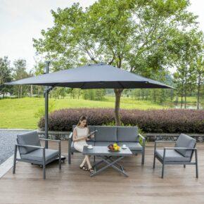 """Siena Garden Loungeset """"Sarah"""", bestehend aus 2 Sesseln, 1 3er-Sofa sowie einem Lifttisch"""