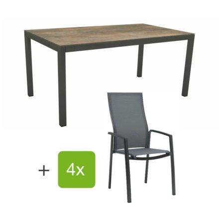 """Stern Gartenmöbel-Set mit Stapelsessel """"Kari"""" (hohe Lehne), Gestelle Alu anthrazit, Sitzfläche Textilgewebe karbon, Tischplatte HPL Ferro, 160x90 cm"""