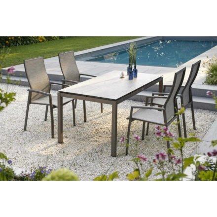 """Stern Gartenmöbel-Set """"Kari"""", Gestelle Aluminium, Tischplatte HPL, 160x90 cm, hier Variante taupe/kaschmir mit HPL-Platte Sahara"""