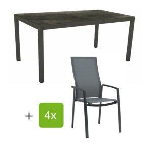"""Stern Gartenmöbel-Set mit Stapelsessel """"Kari"""" (hohe Lehne), Gestelle Alu anthrazit, Sitzfläche Textilgewebe karbon, Tischplatte HPL Dark Marble, 160x90 cm"""