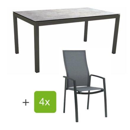 """Stern Gartenmöbel-Set mit Stapelsessel """"Kari"""" (hohe Lehne), Gestelle Alu anthrazit, Sitzfläche Textilgewebe karbon, Tischplatte HPL Metallic grau, 160x90 cm"""