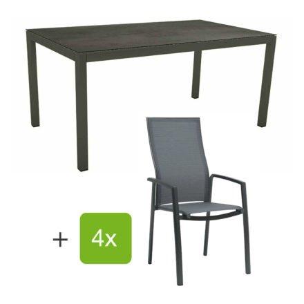 """Stern Gartenmöbel-Set mit Stapelsessel """"Kari"""" (hohe Lehne), Gestelle Alu anthrazit, Sitzfläche Textilgewebe karbon, Tischplatte HPL Nitro, 160x90 cm"""