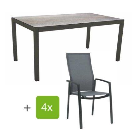 """Stern Gartenmöbel-Set mit Stapelsessel """"Kari"""" (hohe Lehne), Gestelle Alu anthrazit, Sitzfläche Textilgewebe karbon, Tischplatte HPL Smoky, 160x90 cm"""