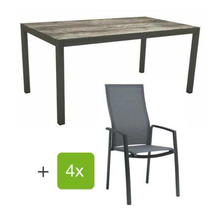 """Stern Gartenmöbel-Set mit Stapelsessel """"Kari"""" (hohe Lehne), Gestelle Alu anthrazit, Sitzfläche Textilgewebe karbon, Tischplatte HPL Tundra grau, 160x90 cm"""