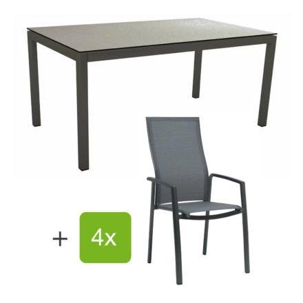 """Stern Gartenmöbel-Set mit Stapelsessel """"Kari"""" (hohe Lehne), Gestelle Alu anthrazit, Sitzfläche Textilgewebe karbon, Tischplatte HPL uni grau, 160x90 cm"""