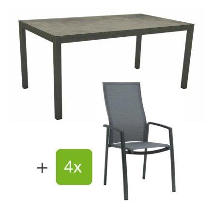 """Stern Gartenmöbel-Set mit Stapelsessel """"Kari"""" (hohe Lehne), Gestelle Alu anthrazit, Sitzfläche Textilgewebe karbon, Tischplatte HPL Zement, 160x90 cm"""