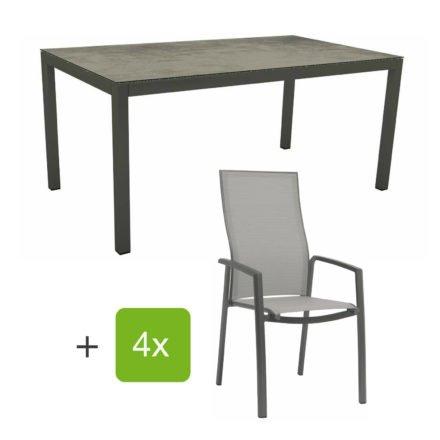 """Stern Gartenmöbel-Set mit Stapelsessel """"Kari"""" (hohe Lehne), Gestelle Alu anthrazit, Sitzfläche Textilgewebe silberfarben, Tischplatte HPL Zement, 160x90 cm"""