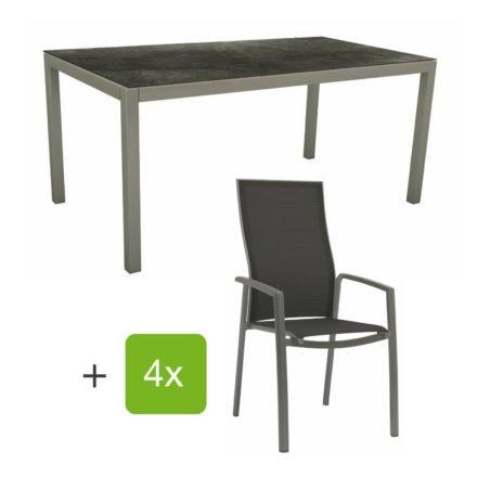 """Stern Gartenmöbel-Set mit Stapelsessel """"Kari"""" (hohe Lehne), Gestelle Alu graphit, Sitzfläche Textilgewebe silbergrau, Tischplatte HPL Dark Marble, 160x90 cm"""