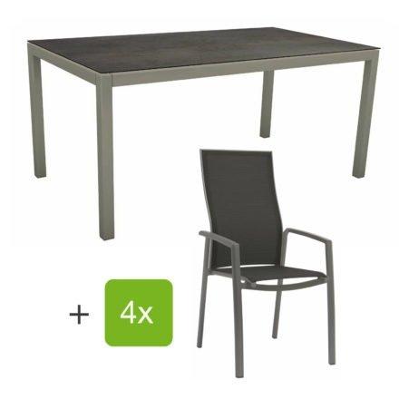 """Stern Gartenmöbel-Set mit Stapelsessel """"Kari"""" (hohe Lehne), Gestelle Alu graphit, Sitzfläche Textilgewebe silbergrau, Tischplatte HPL Nitro, 160x90 cm"""