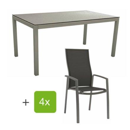 """Stern Gartenmöbel-Set mit Stapelsessel """"Kari"""" (hohe Lehne), Gestelle Alu graphit, Sitzfläche Textilgewebe silbergrau, Tischplatte HPL uni grau, 160x90 cm"""