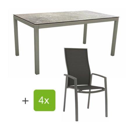 """Stern Gartenmöbel-Set mit Stapelsessel """"Kari"""" (hohe Lehne), Gestelle Alu graphit, Sitzfläche Textilgewebe silbergrau, Tischplatte HPL Vintage Stone, 160x90 cm"""