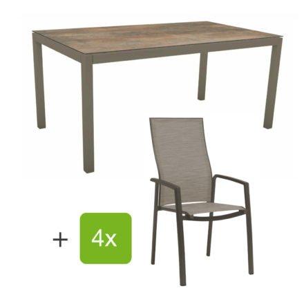 """Stern Gartenmöbel-Set mit Stapelsessel """"Kari"""" (hohe Lehne), Gestelle Alu taupe, Sitzfläche Textilgewebe kaschmirfarben, Tischplatte HPL Ferro, 160x90 cm"""