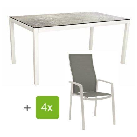 """Stern Gartenmöbel-Set mit Stapelsessel """"Kari"""" (hohe Lehne), Gestelle Alu weiß, Sitzfläche Textilgewebe silberfarben, Tischplatte HPL Vintage Stone, 160x90 cm"""